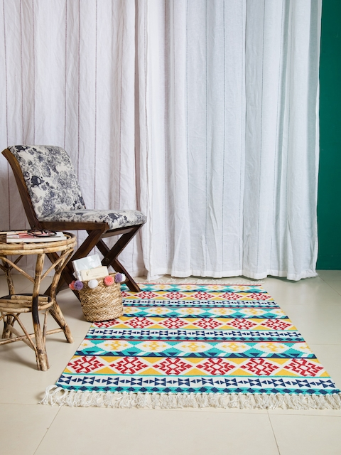 Chumbak Turquoise Blue & Multicoloured Printed Carpet