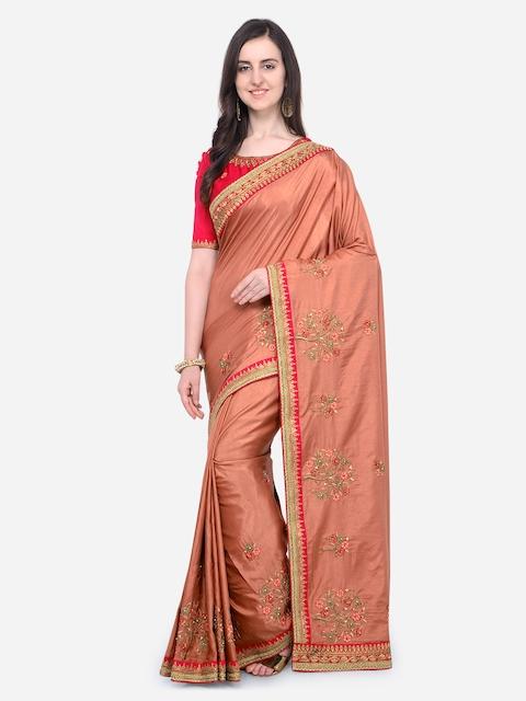 RIYA Orange Embroidered Poly Silk Saree