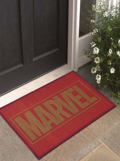Marvel Athom Trendz Red Printed Anti-Skid Doormat