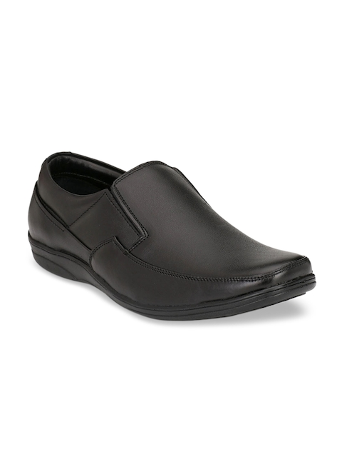 Fentacia Men Black Leather Formal Slip-On Shoes
