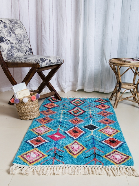 Chumbak Blue Printed Carpet