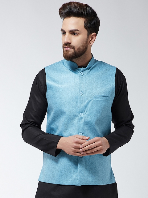 SOJANYA Men Turquoise Blue Solid Woven Nehru Jacket