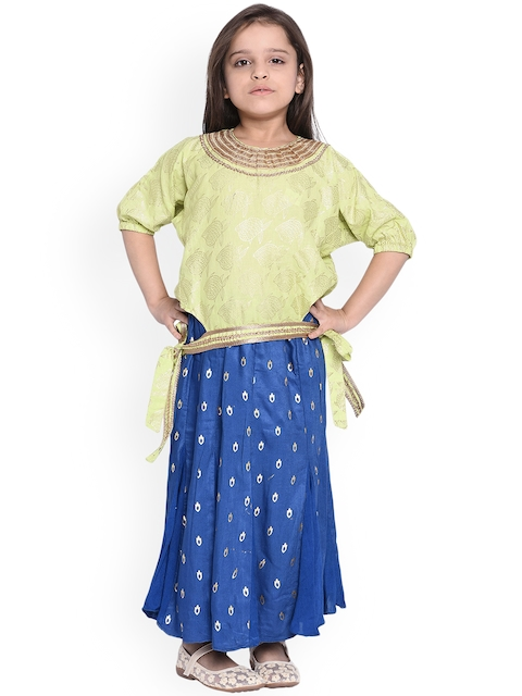WONDERMOM Girls Blue & Green Printed Top with Skirt