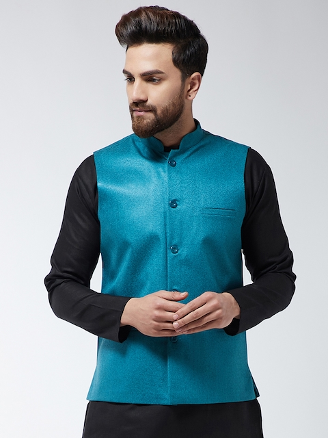 SOJANYA Men Blue Solid Woven Nehru Jacket