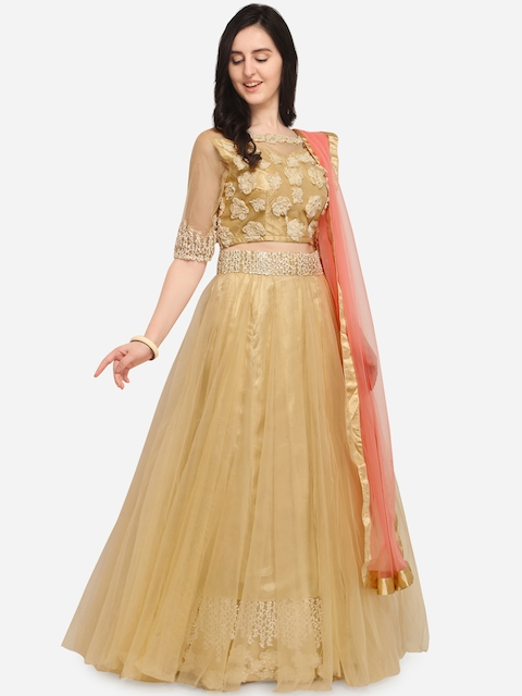 Aasvaa Beige & Pink Embroidered Semi-Stitched Lehenga & Unstitched Blouse with Dupatta