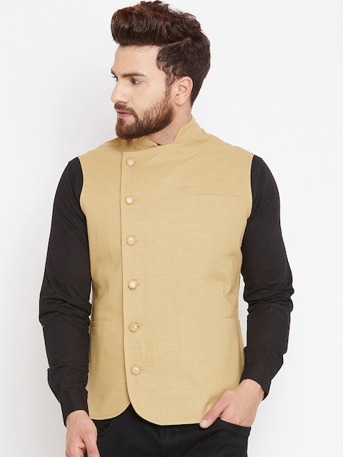 Hypernation Mens Beige Solid Woven Nehru Jacket