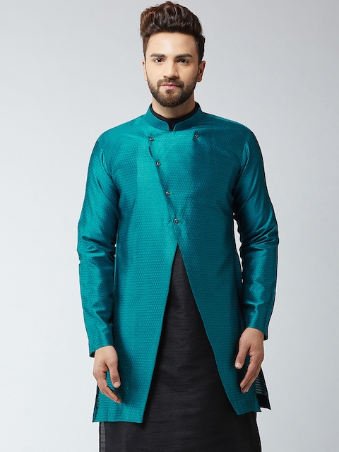 SOJANYA Men Blue Woven Design Sherwani Jacket