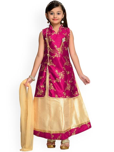 Kidling Girls Magenta & Yellow Printed Ready to Wear Lehenga & Blouse with Dupatta