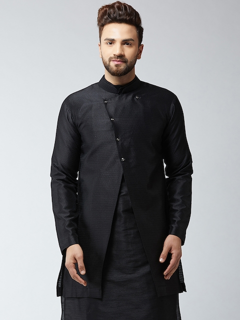 Sojanya Mens Black Woven Design Sherwani Jacket