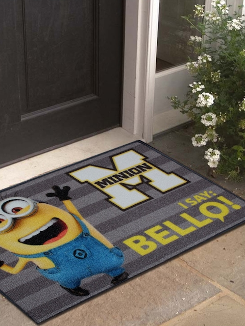 Disney Athom Trendz Grey & Yellow Minion Printed Anti-Skid Doormat