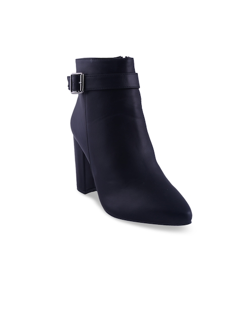 MSC Women Black Solid Heeled Boots