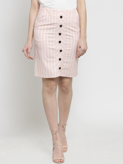 Global Republic Women Pink Striped Pencil Skirt