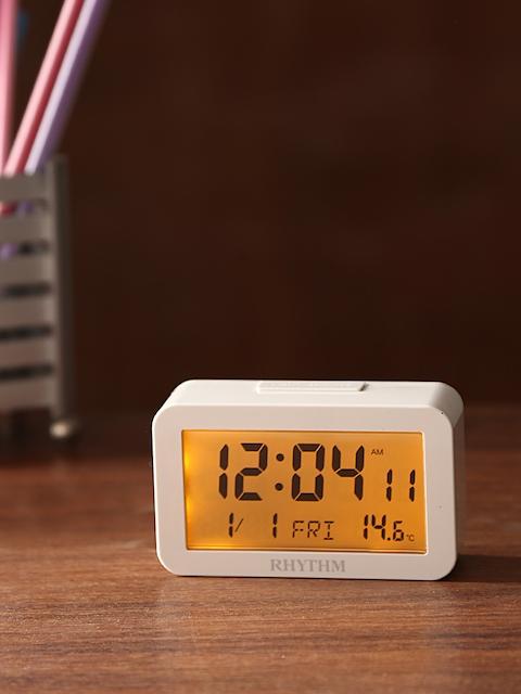 Rhythm White Rectangle Solid 9.7 cm Panel Digital Table Clock