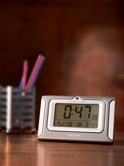 Rhythm Grey Rectangle 15.6 cm Panel Solid Digital Table Clock