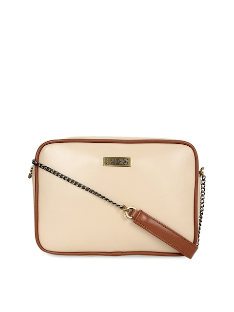 3 Mad Chicks Beige Solid Sling Bag