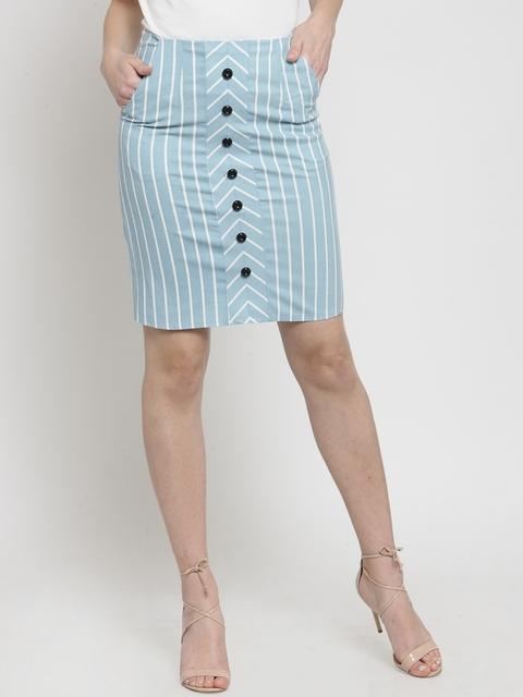 Global Republic Women Turquoise Blue Striped Pencil Skirt