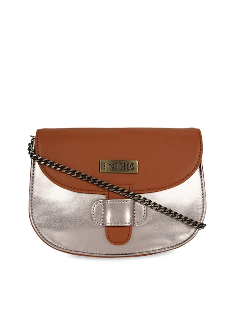 3 Mad Chicks Tan Brown Colourblocked Sling Bag