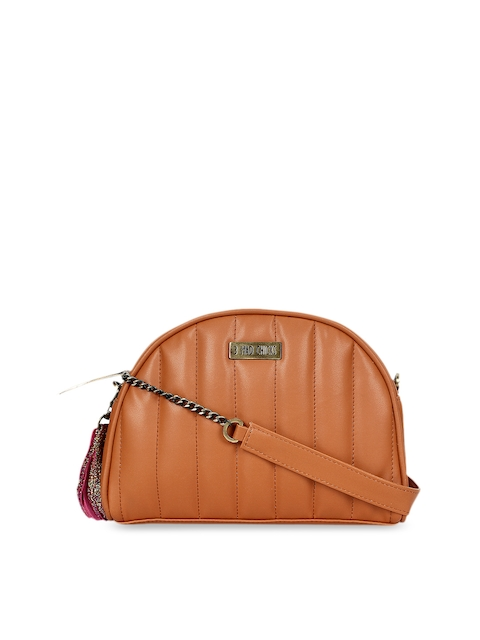 3 Mad Chicks Women Tan Brown Solid Sling Bag