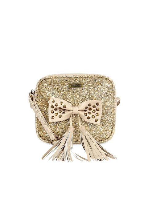 3 Mad Chicks Beige Embellished Sling Bag