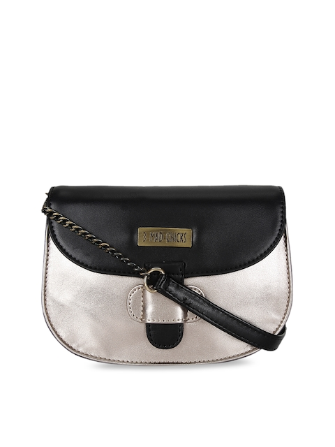 3 Mad Chicks Black & Silver-Toned Colourblocked Sling Bag