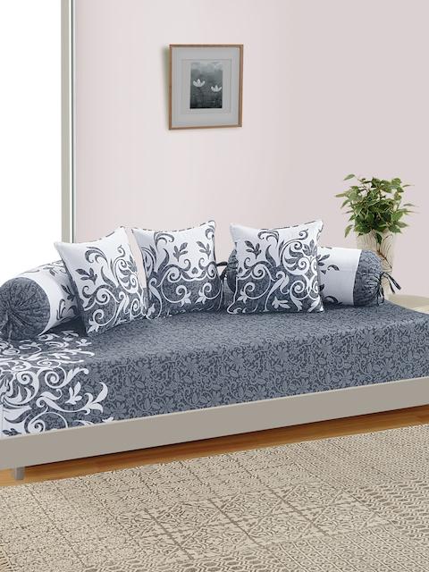 SWAYAM Unisex Grey & White Printed Diwan Set