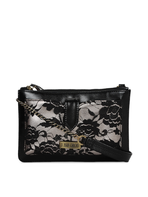3 Mad Chicks Black Self Design Sling Bag