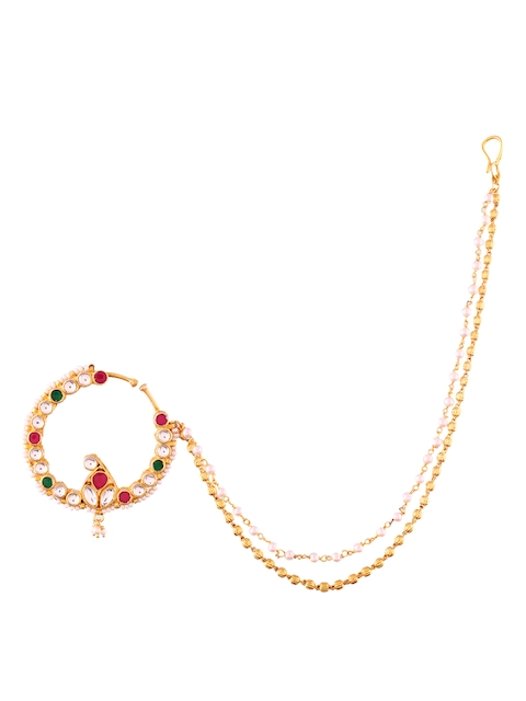 Accessher Women Gold-Plated Kundan-Studded Nose Ring