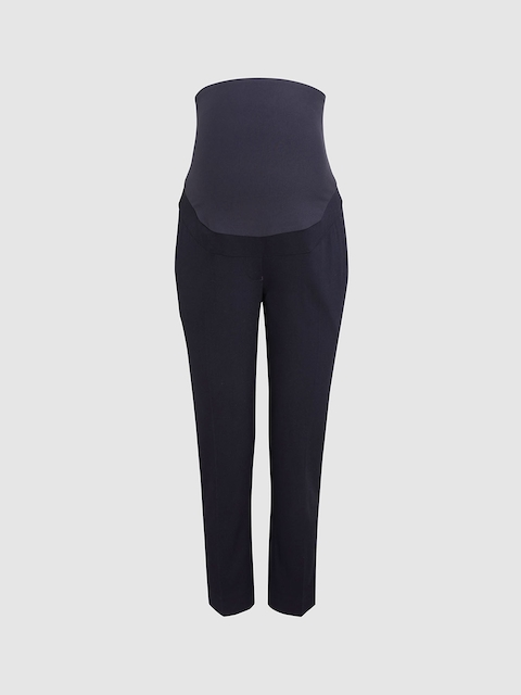 next Women Navy Blue Regular Fit Solid Maternity Trousers
