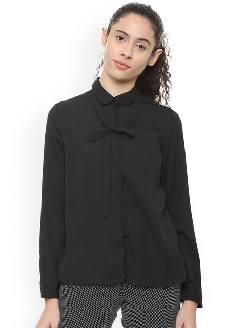 Van Heusen Woman Black Regular Fit Solid Formal Shirt