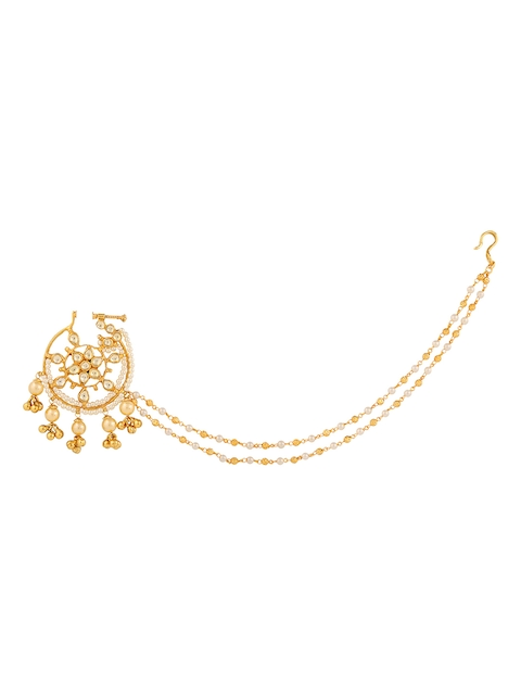 Yosshita & Neha Women Gold Polished Nose Ring with Chain