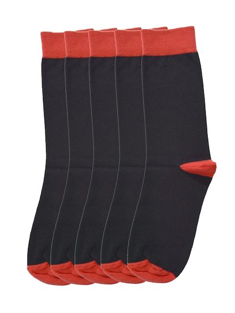 Tossido Men Pack of 5 Black Solid Calf-Length Socks