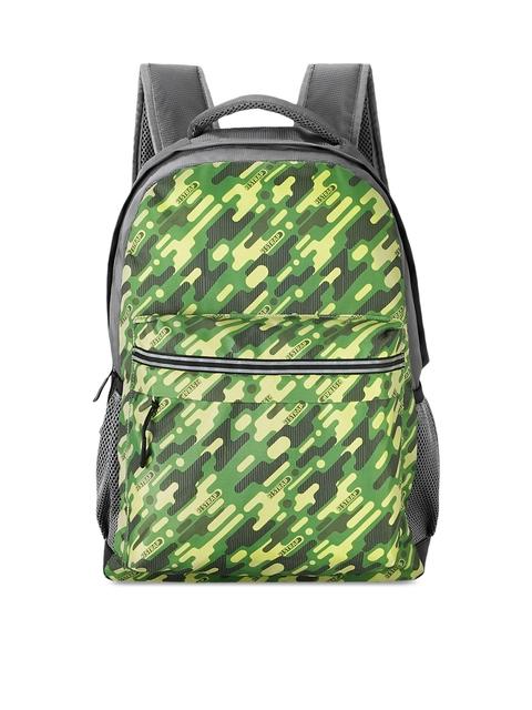 2 STRAP Unisex Green & Grey Geometric Backpack