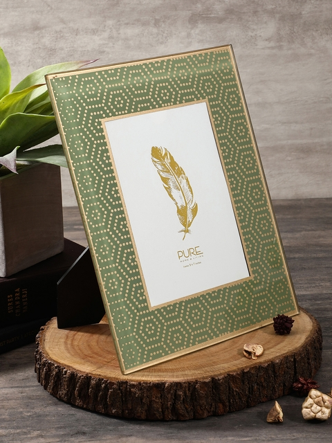 Pure Home and Living Green & Gold-Toned Large Photo Frame
