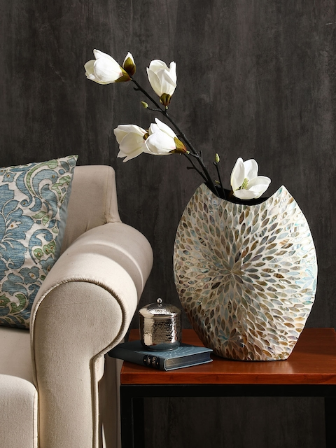 Pure Home and Living Blue & Multicoloured Bamboo Sea Shell Embellished Vase
