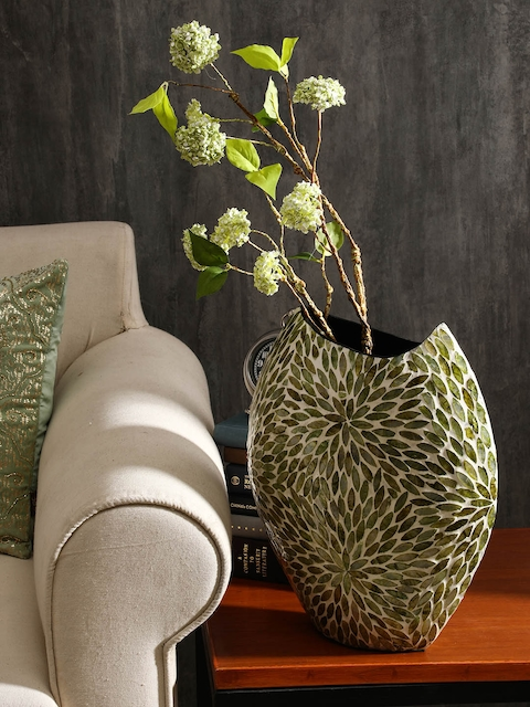 Pure Home and Living Green Bamboo Sea Shell Embellished Vase