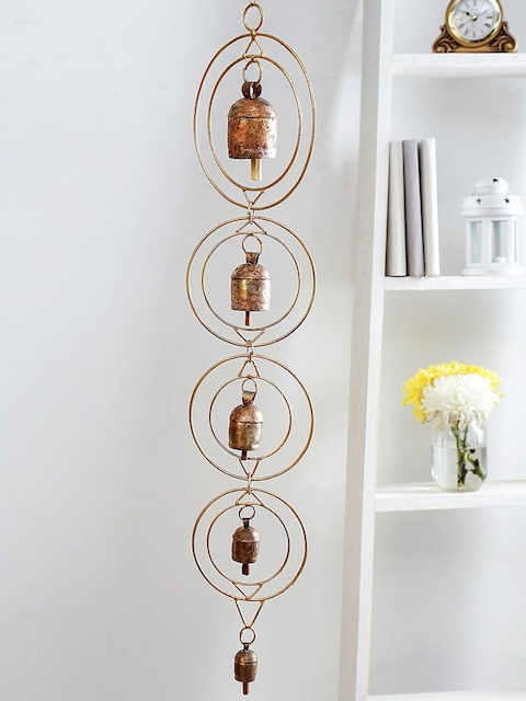 Unravel India Gold-Coloured Copper Bells Windchime