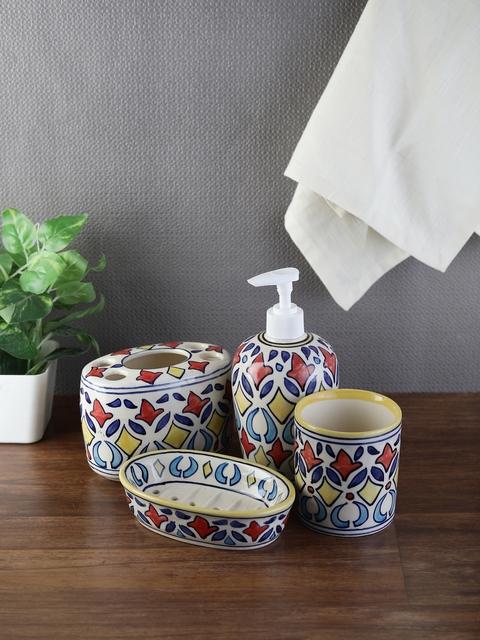 VarEesha Set Of 4 Multicoloured Printed Ceramic Bath Accessories