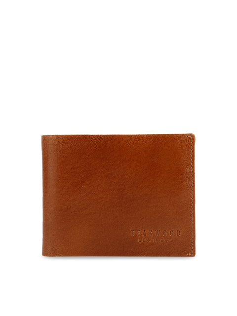 Teakwood Leathers Men Tan Brown Leather Solid Two Fold Wallet