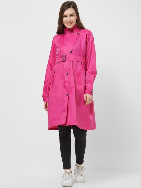 Zeel Women Fuchsia Solid Longline Rain Jacket