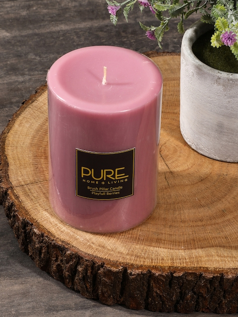 Pure Home and Living Set of 2 Pink Pillar Candles