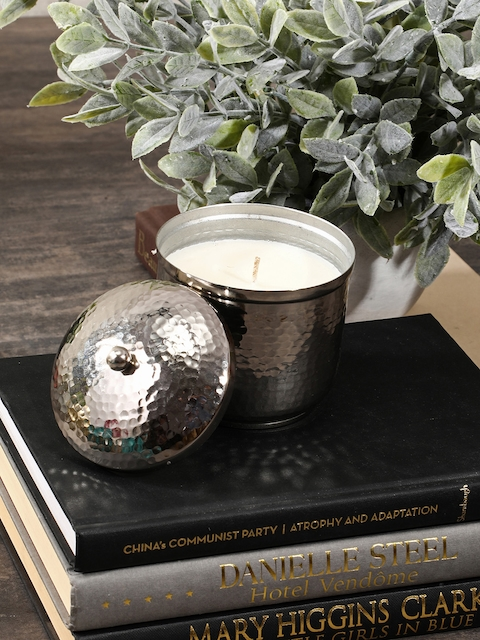 Pure Home and Living Set of 2 Silver-Toned & White Large Jar Candles