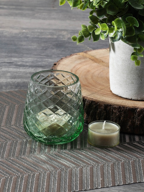 Pure Home and Living Set of 2 Green Textured Candle Holders