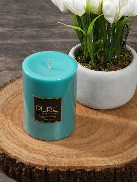 Pure Home and Living Set of 2 Blue Pillar Candles