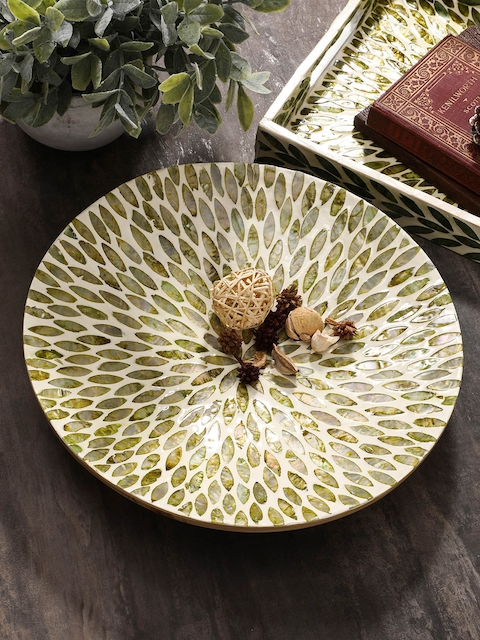 Pure Home and Living Beige & Green Decorative Bowl