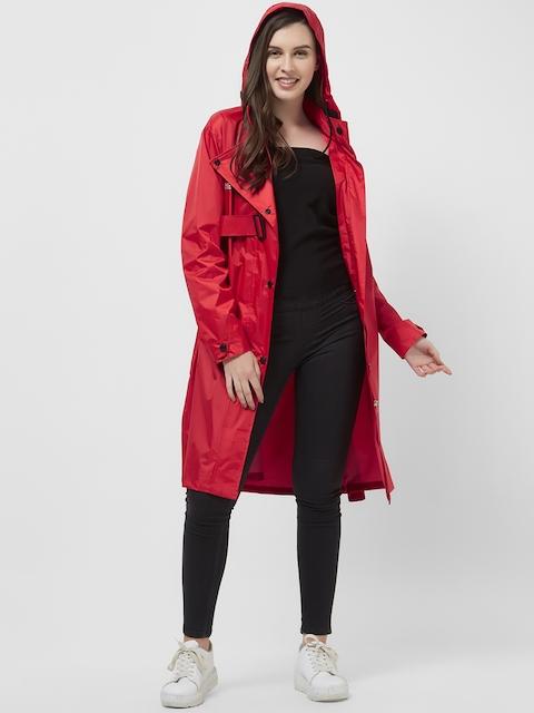 Zeel Women Red Solid Longline Rain Jacket