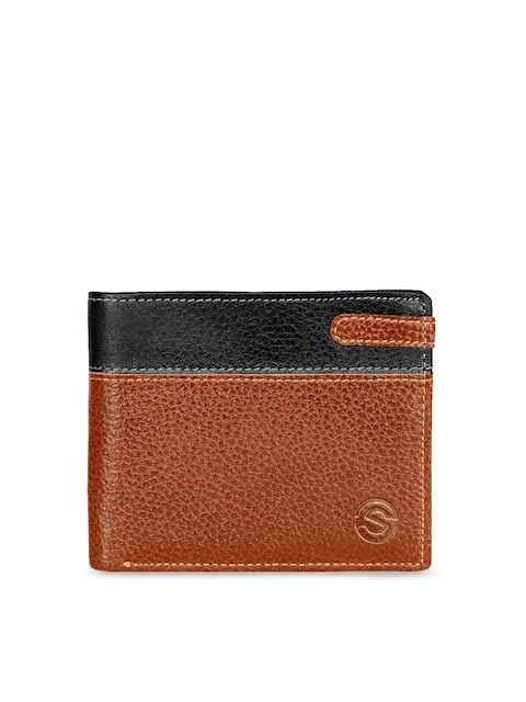 SCHARF Men Tan Brown & Black Solid Two Fold Leather Wallet