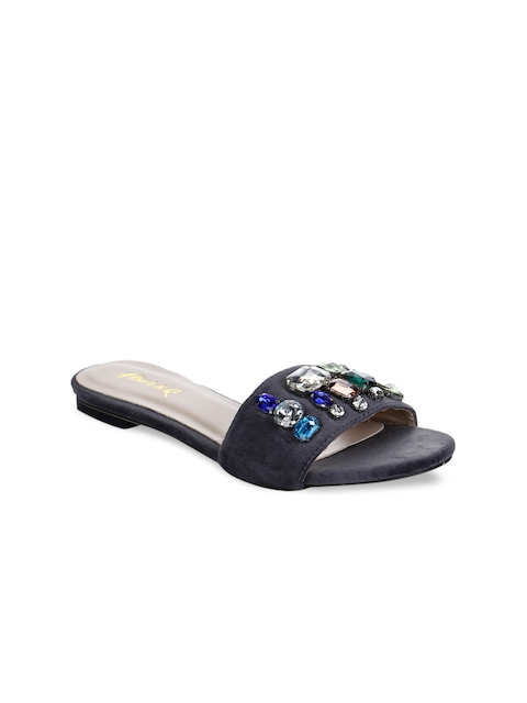 Aber & Q Women Navy Blue Woven Design Open Toe Flats