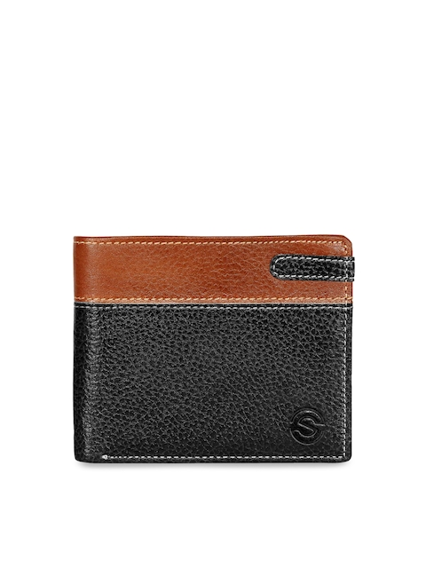 SCHARF Men Black & Brown Solid Two Fold Wallet
