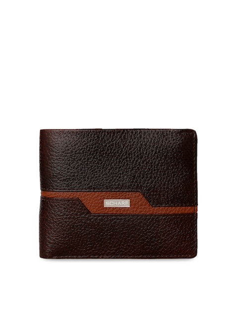 SCHARF Men Brown Solid Two Fold Wallet
