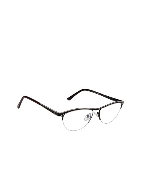 Cardon Women Black Solid Half Rim Oval Frames EWCD2084MGM8010